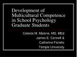 development of multicultural competence in school psychology graduate students