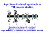 a proteomics level approach to tm protein studies