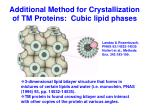 additional method for crystallization of tm proteins cubic lipid phases