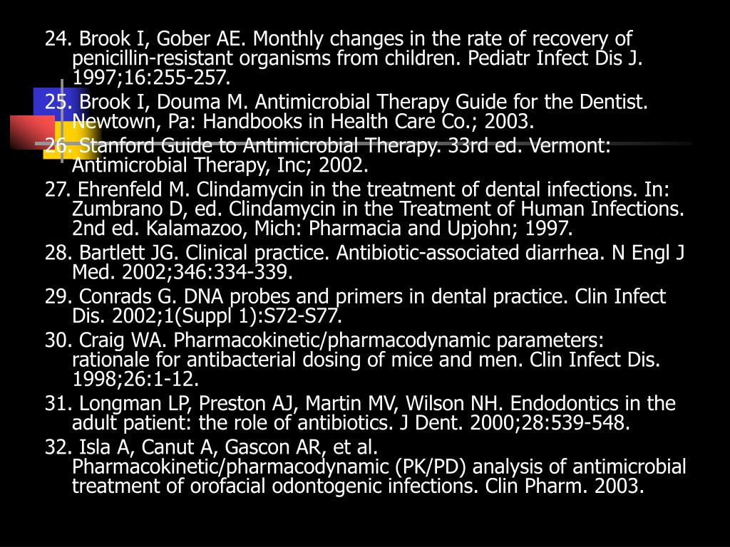 24. Brook I, Gober AE. Monthly changes in the rate of recovery of penicillin-resistant organisms from children. Pediatr Infect Dis J. 1997;16:255-257.