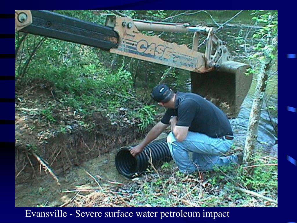 Evansville - Severe surface water petroleum impact