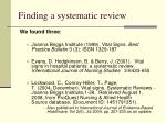 finding a systematic review