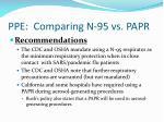 ppe comparing n 95 vs papr29