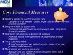 core financial measures
