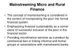 mainstreaming micro and rural finance