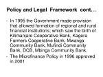 policy and legal framework cont
