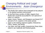 changing political and legal environments asian emergence