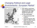 changing political and legal environments european market