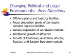 changing political and legal environments new directions