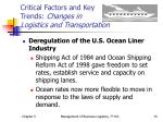 critical factors and key trends changes in logistics and transportation