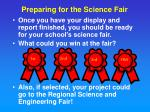 preparing for the science fair