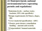 2 state provincial national environmental laws operating permits and regulations