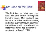 dv code on the bible