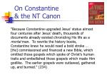 on constantine the nt canon