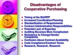 disadvantages of cooperative purchasing