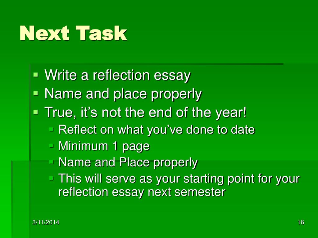 end of course reflection essay