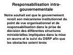 responsabilisation intra gouvernementale