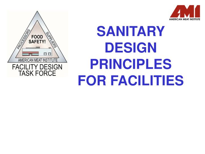 sanitary design principles for facilities n.