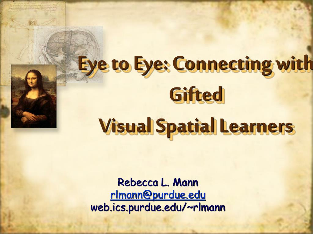eye to eye connecting with gifted visual spatial learners l.