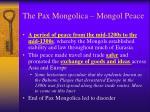 the pax mongolica mongol peace