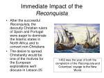 immediate impact of the reconquista