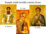 sample ninth twelfth century icons