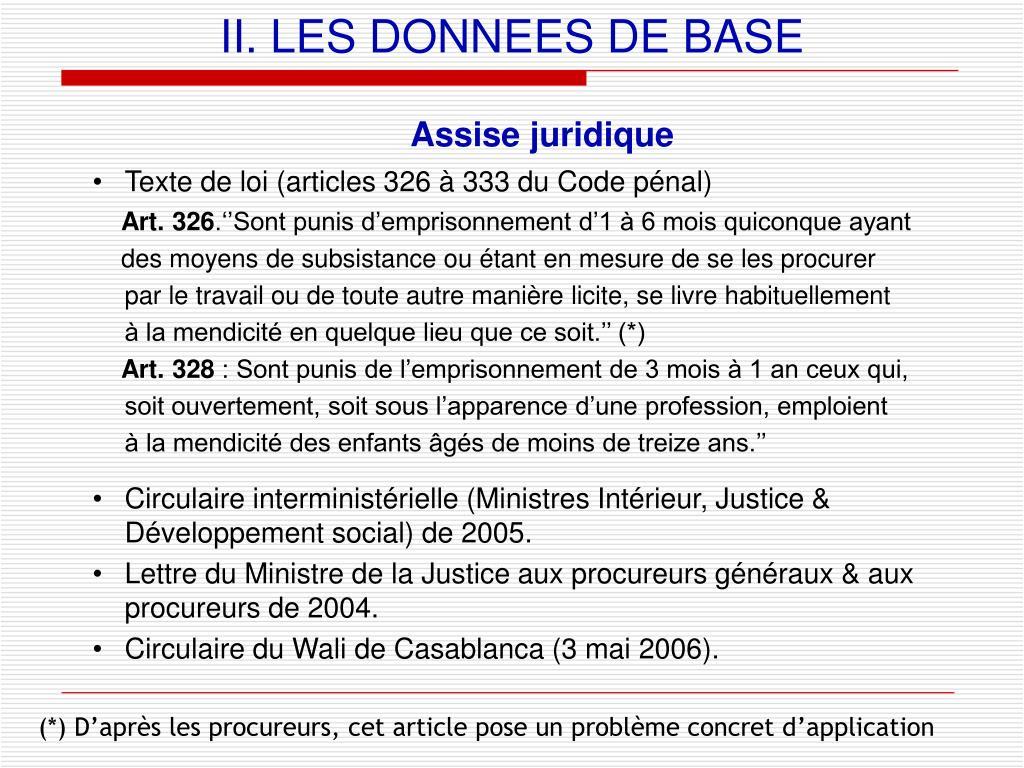 II. LES DONNEES DE BASE
