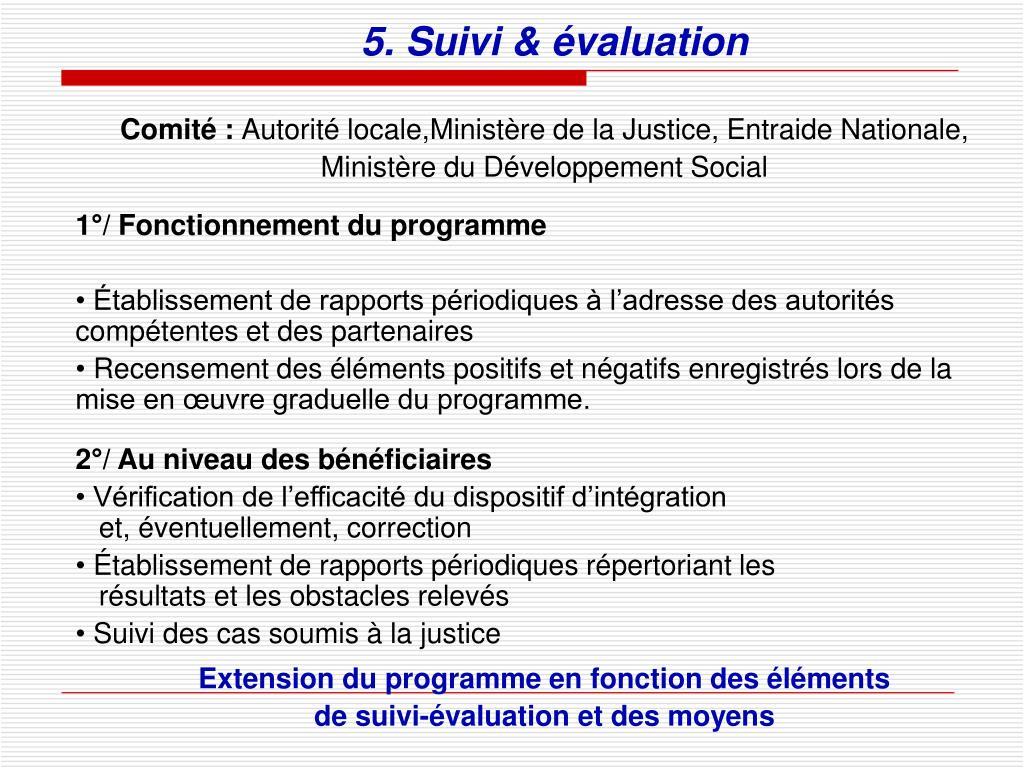 5. Suivi & évaluation