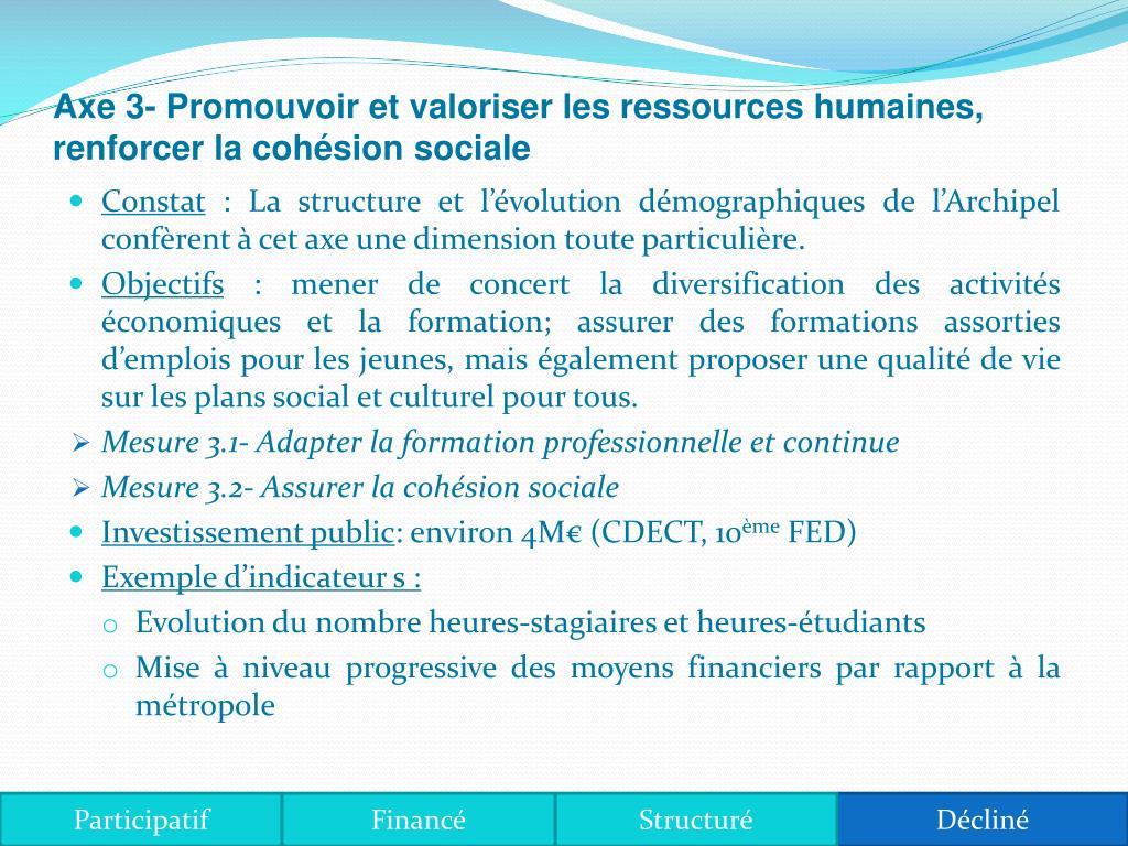 Axe 3- Promouvoir et valoriser les ressources humaines, renforcer la cohésion sociale
