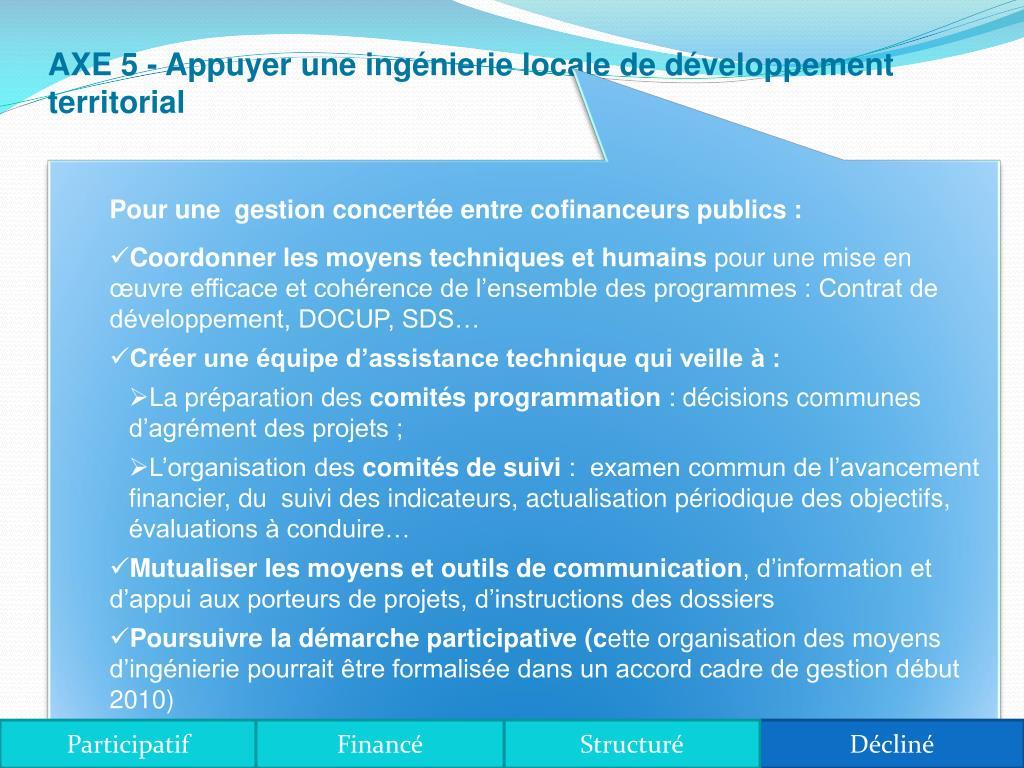 AXE 5 - Appuyer une ingénierie locale de développement territorial