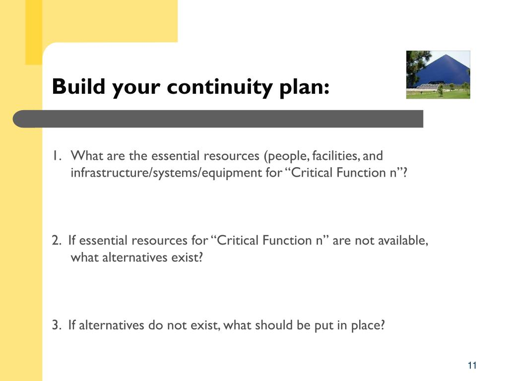 Build your continuity plan: