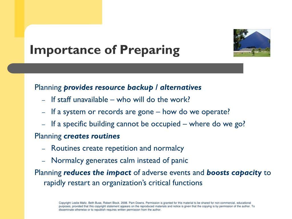 Importance of Preparing