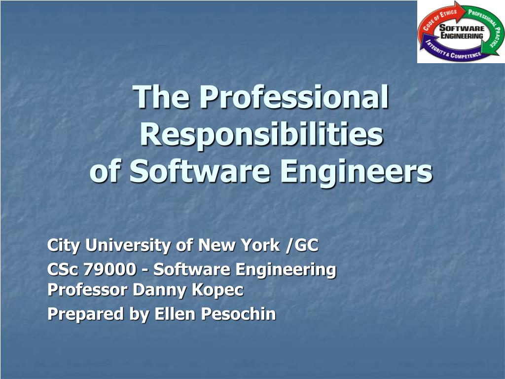 the professional responsibilities of software engineers l.