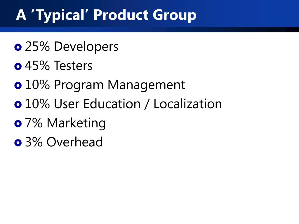 A 'Typical' Product Group