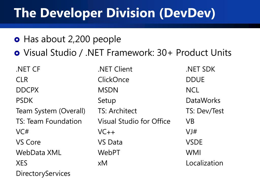 The Developer Division (DevDev)