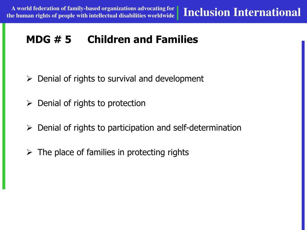 MDG # 5Children and Families