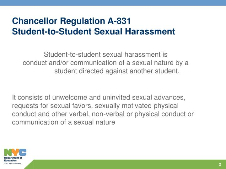 Chancellor regulation a 831 student to student sexual harassment