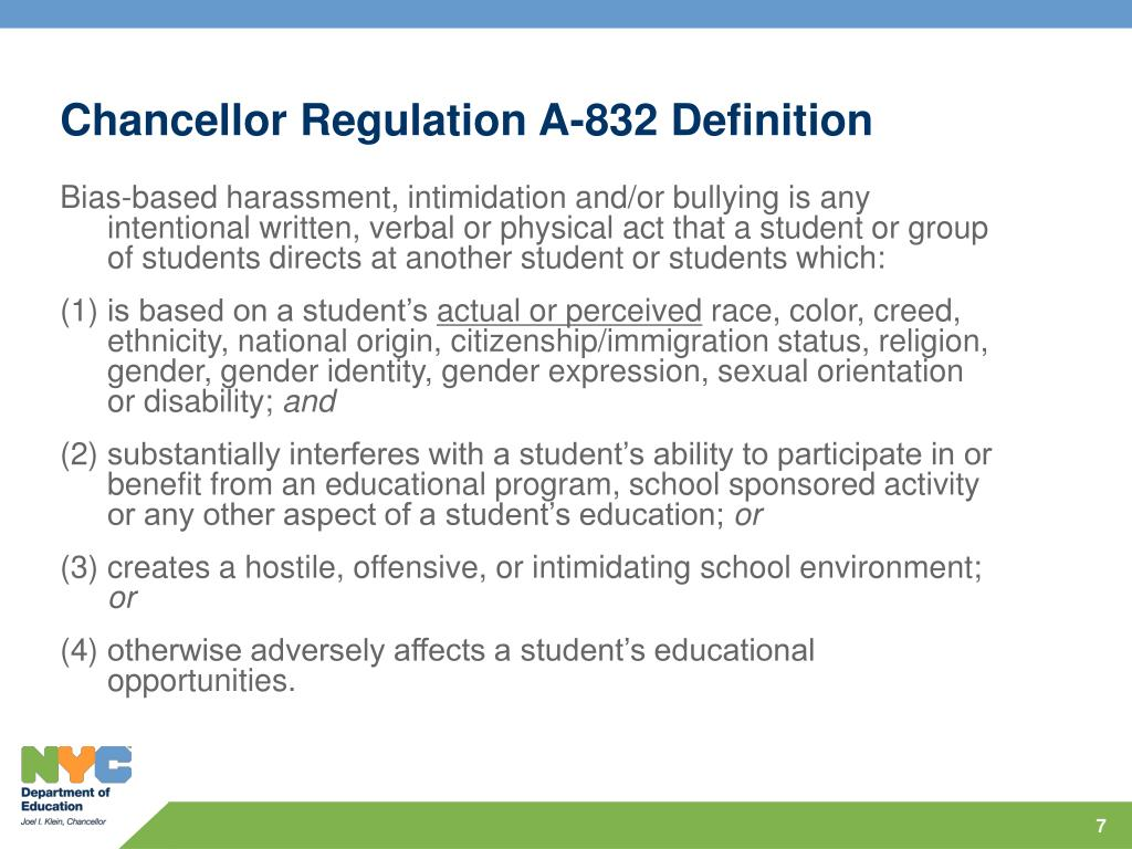 Chancellor Regulation A-832 Definition