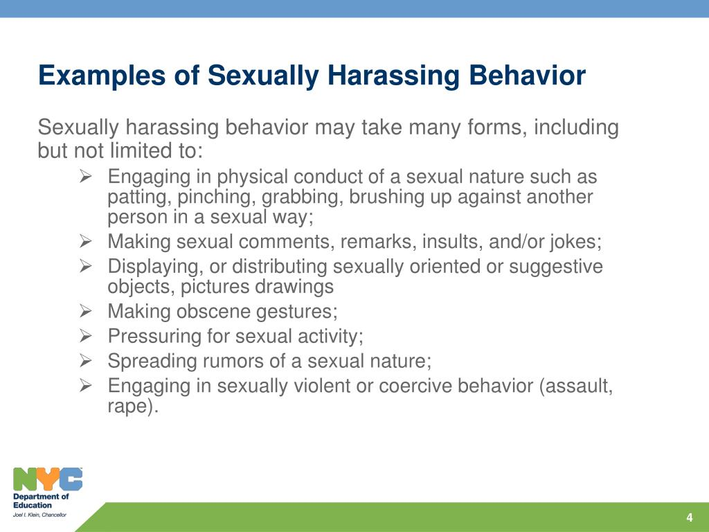 Examples of Sexually Harassing Behavior
