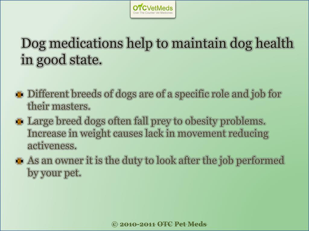 Dog medications help to maintain dog health in good state.
