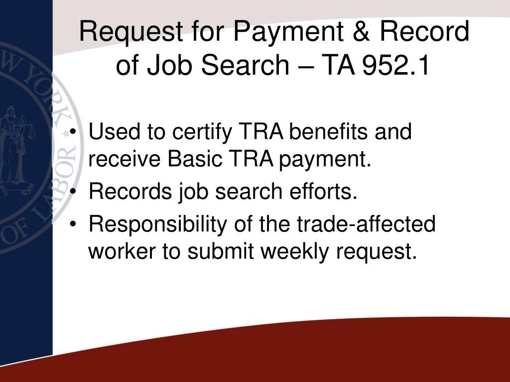 Request for Payment & Record of Job Search – TA 952.1