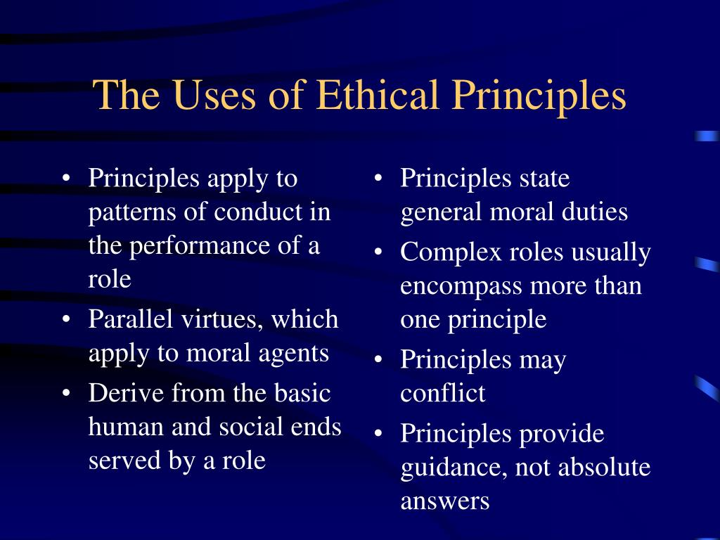 Principles apply to patterns of conduct in the performance of a role