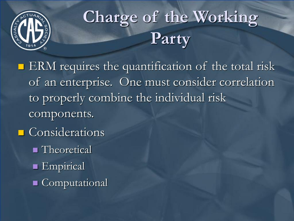 Charge of the Working Party