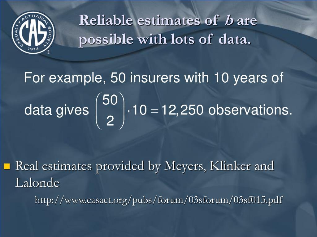Reliable estimates of