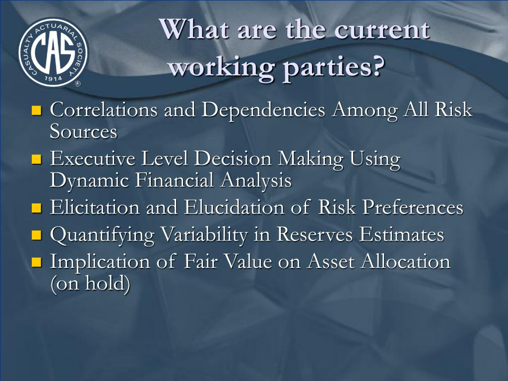 What are the current working parties?