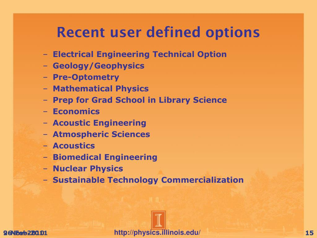Recent user defined options