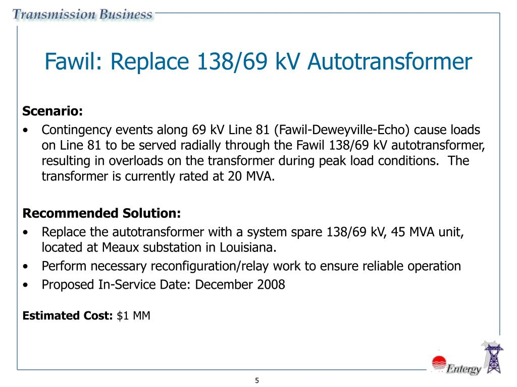 Fawil: Replace 138/69 kV Autotransformer