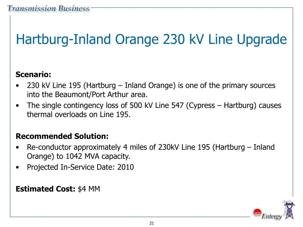 Hartburg-Inland Orange 230 kV Line Upgrade