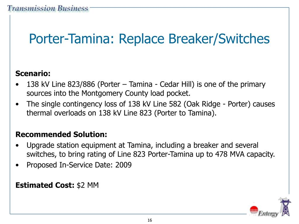 Porter-Tamina: Replace Breaker/Switches