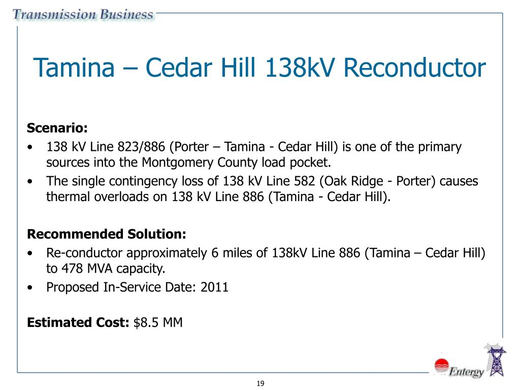 Tamina – Cedar Hill 138kV Reconductor
